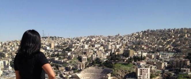 Panaromic views at the Citadel in Amman, Jordan including bird's eye view of the colosseum.