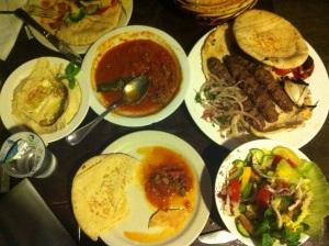 Fattoush, hommous, shish kebab at Jafra resturant, Amman.