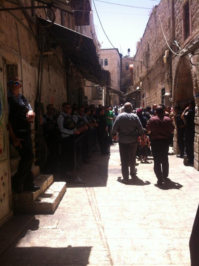 Soldiers at Al-Aqsa entry gate at Friday prayer, Jerusalem.