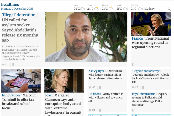 Front page of the Guardian Australia website.