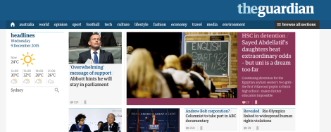Front page of the Guardian Australia site.
