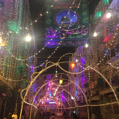Kharadar lit up at night for the Prophet's birthday on the 12th day of Rabi'ul Awaal.