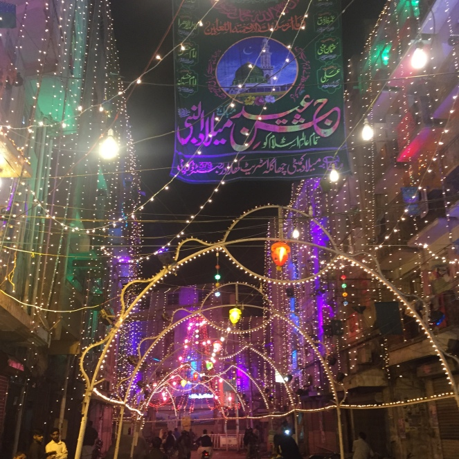 Karachi lit up at night for the Prophet's birthday on the 12th day of Rabi'ul Awaal.