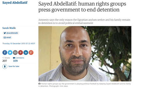 Falsely condemned as a terrorist by political leaders, Abdellatif, his wife and six children have been held in detention for more than three years without charge.