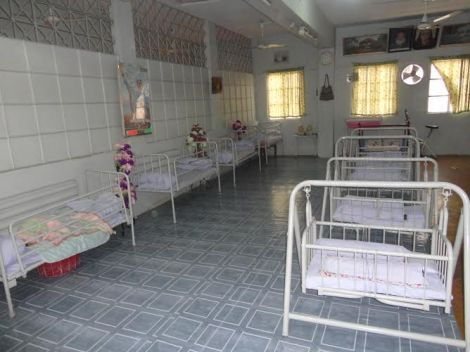 Cribs at creche for abandoned children at Edhi clinic in Karachi, Pakistan.