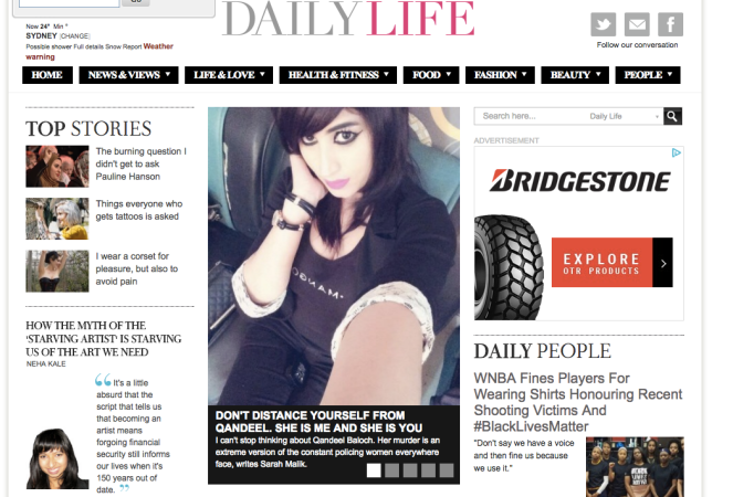 Frontpage of Daily Life.