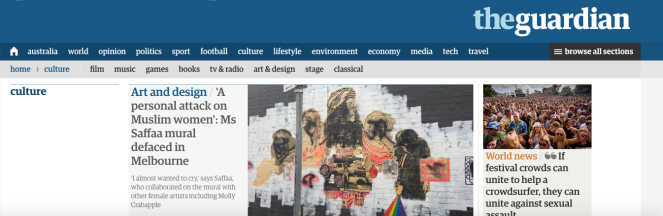 Leading story on Guardian Australia's Culture page.